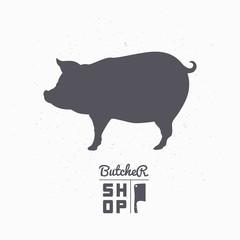Pig silhouette. Pork meat. Butcher shop logo template