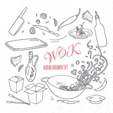 Set of outline hand drawn wok restaurant elements. Doodle asian food