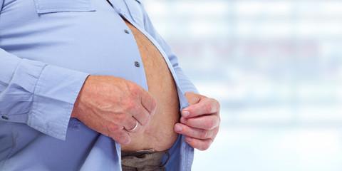 Obese man abdomen.