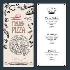 pizza Italian with raw material food design menu brochure advertise drawing style template , vintage color background vector illustration