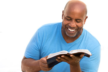 African American studying and reading