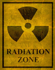 old worn radiation zone sign