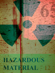 aged rusted metal grunge industrial design with symbol and hazardous warning