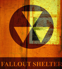 aged grunge fallout shelter sign with rust