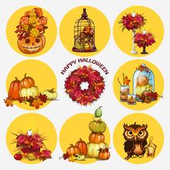Nine isolated objects, autumn and festive mood