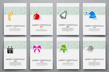 Corporate identity vector templates set with doodles Christmas