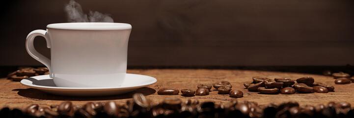 Panorama mit frischer Tasse Kaffee