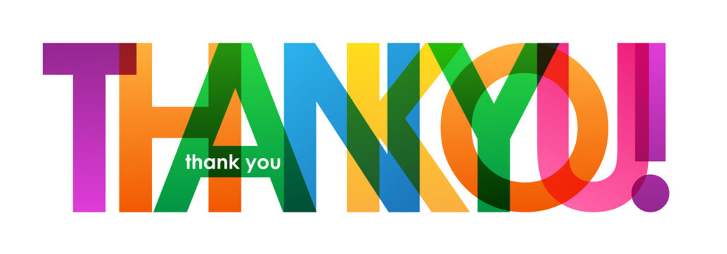 """""""THANK YOU"""" Vector Overlapping Letters Icon"""