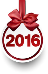 2016 paper bauble with red bow.