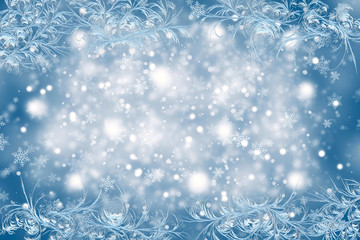 Christmas background with a frosty pattern