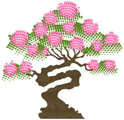 Blossoming Bonsai tree, vector illustration.