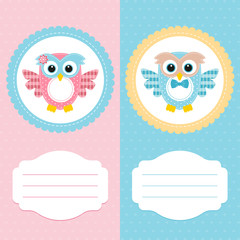 card pink owl and blue
