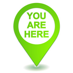 you are here on green symbol geolocation