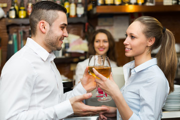 couple having a date at bar