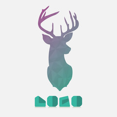 Polygonal hipster logo with head of deer in mint color with gradient