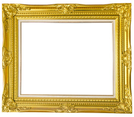Antique gold frame isolated over white background