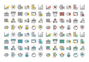 Flat line colorful icons collection of online payment, m-banking, , money savings and finance tools, banking services, financial management items, business accounting, internet payment security