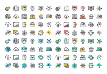 Flat line colorful icons collection of website and app development, seo, website maintenance, online security, cloud computing, web programming process, API interface coding, mobile app UI making.