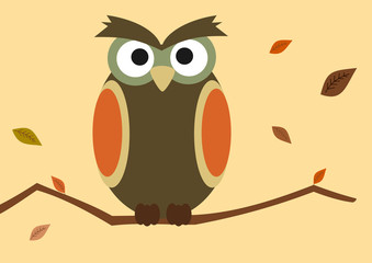 cartoon owl on branch with autumn leaf vector background illustration