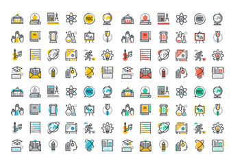 Flat line colorful icons collection of education and knowledge theme, basic and elementary study, university and college courses, distance education, webinar audio course, literature and e-book.