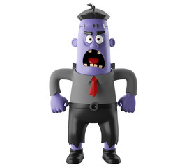 3D Halloween party cartoon isolated icon frankenstein, funny scary man character, zombie figure
