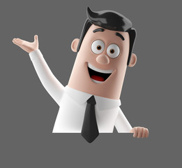 3D funny cartoon character illustration office man in suit isolated