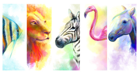 Animals Beautiful  collage.  illustration lion, fish, flamingo, zebra