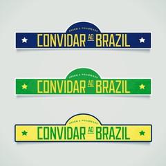 Three signboard - invite to Brazil in Portuguese. Retro design. Vector eps 10