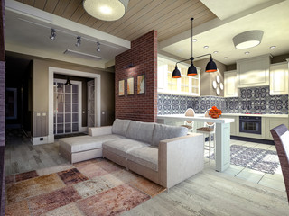 3D Visualization of a living room with a brick wall