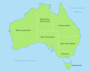 Australien - Karte in Grün