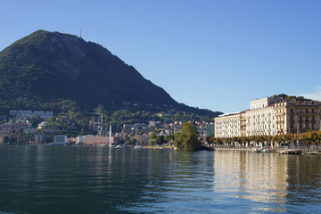 View of Paradiso district of Lugano and San Salvatore Mountain, Switzerland