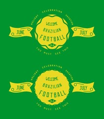 Two icons retro style design. Old school label for Brazil. Vector eps 10