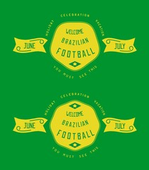 Vintage label design with grunge textured. Badges for vacation in Brazil. Vector eps 10