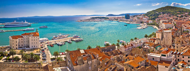 Tuinposter Kust Split historic waterfront panoramic aerial view