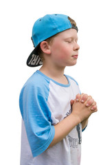Spiritual child boy pray to god belive in answer isolated on whi