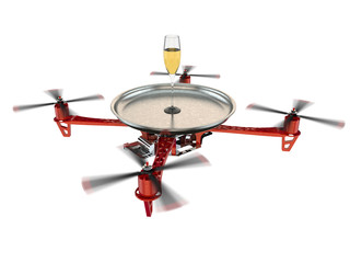 Waitress drone with a champagne glass on tray