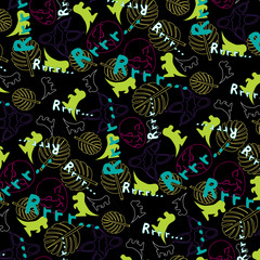 Cheerful children's pattern with the image of dinosaurs /Cheerful children's pattern with the image of dinosaurs on a black background