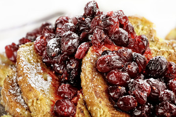 Macro of Cranberry Sauce over French Toast