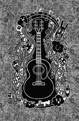 Hand drawing Doodle acoustic guitar,Flat Design