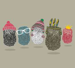 Fashionable print with group of owls for hipster t-shirt and more.