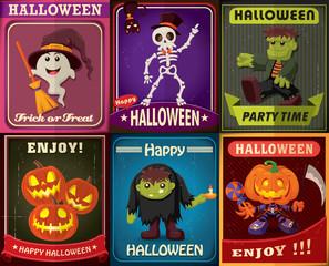Vintage Halloween poster design set