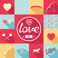 Flat design set for love. Symbols, elements, patterns in pop-art style. Vector eps8