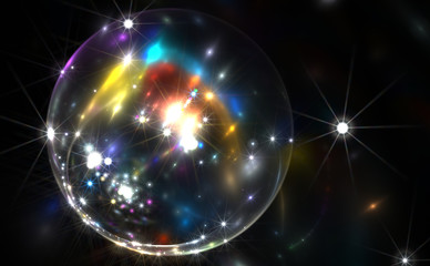 Abstract colorful bubble with sparkles