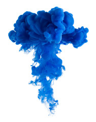 Blue paint cloud isolated on white