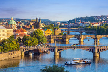 Aluminium Prints Prague Prague city skyline and Charles Bridge, Prague, Czech Republic