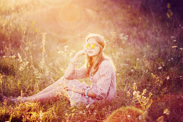 portrait of hippie girl in sunglasses