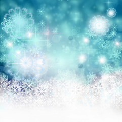 Merry Christmas: blue background with stars, crystals and snowflakes :)