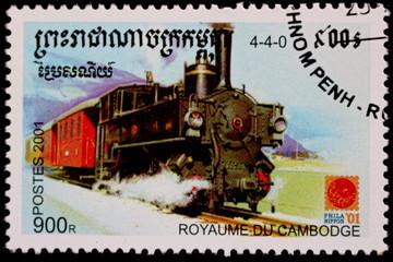 Timbre du Cambodge de 2001 - Locomotive rétro