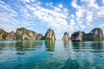 Limestone islands in Halong Bay, North Vietnam.