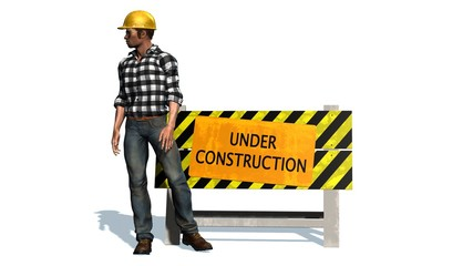 Under Construction - Barrier and construction worker with yellow helmet